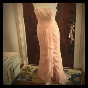 Light pink formal strapless Priscilla dress size 0